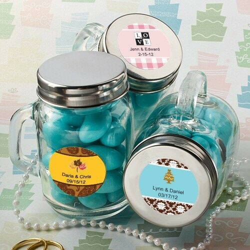 60 Personalized Mason Treat Jars Wedding Bridal Baby Shower Baptism Party Favors