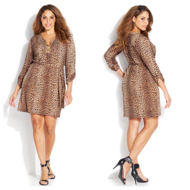 Michael Kors Dress 0x Plus Size Leopard Animal Print Chain Lace Up