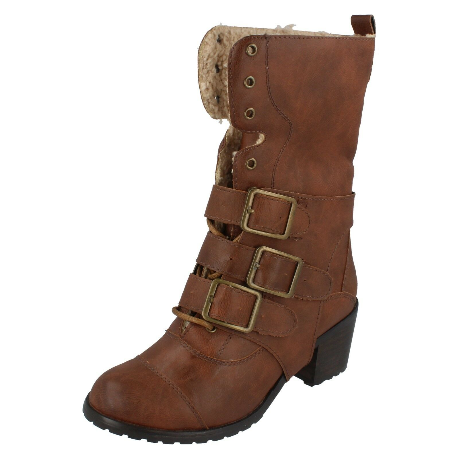Ladies F5719  tan synthetic fur inner 4 way boot by spot on £19.99
