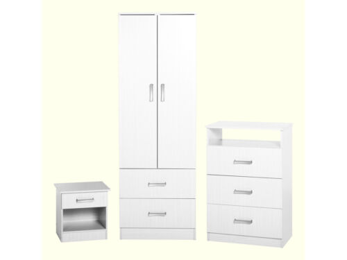 Chest Bedside Cabinet Polar 3 Piece White Bedroom Furniture Set Wardrobe