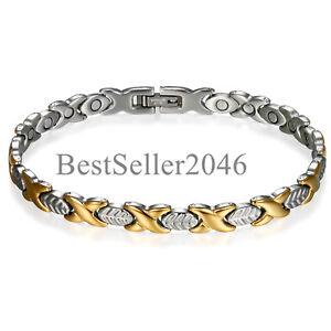 Men-Women-Leaf-Magnetic-Link-Stainless-Steel-Bracelet-w-Free-Link-Removal-Tool
