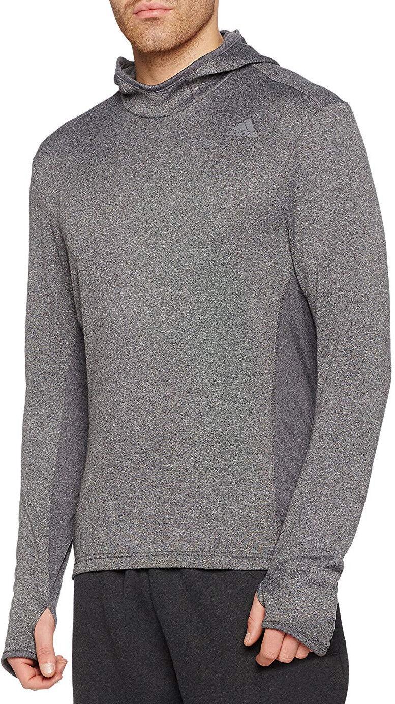 Adidas Response Long Sleeve Hooded Mens Running Top - Grey