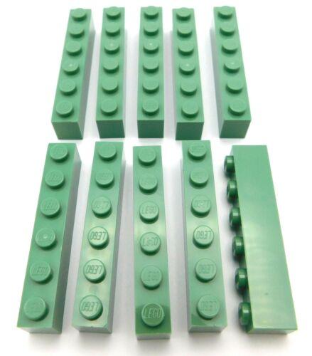 LEGO LOT OF 10 NEW SAND GREEN 1 X 6 DOT BRICKS BUILDING BLOCKS PIECES