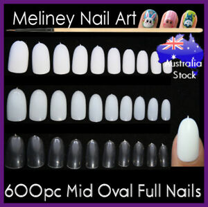 600Pc-Mid-Oval-Length-Full-Cover-Nails-Round-Tips-Fake-False-nail-Art