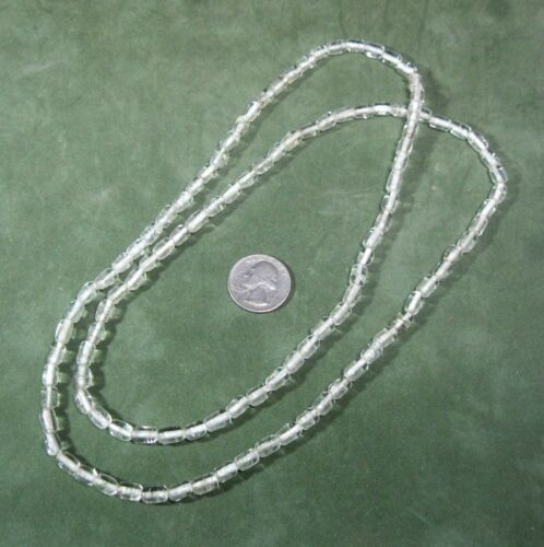 """37/"""" endless necklace of clear glass white colorline beads for re-stringing ᵗ U2"""