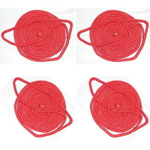 4 Pack of 1/4 Inch x 6 Ft Red Double Braid Nylon Fender Lines for Boats