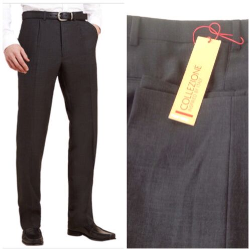 M/&S Mens Collezione Pure Wool Rrp £84 Charcoal Blue-Grey Trousers Pants BNWT