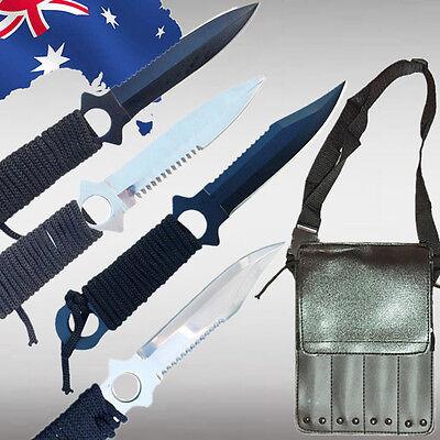 4pcs Hunting Knives  w/ Bag Tactical Tang Serrated Combat Dagger Blade OKNIF4454