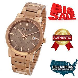 NEW-Burberry-BU9135-Brown-Rose-Gold-Stainless-Steel-Analog-Quartz-Women-039-s-Watch