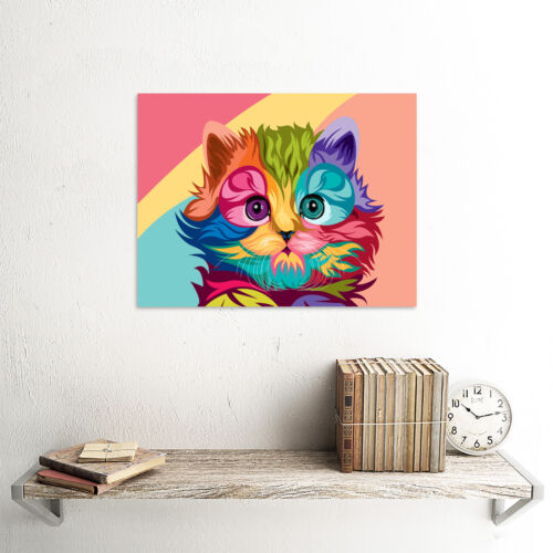 Cat Illustration Cute Colourful  Unframed Wall Art Print Poster Home Decor