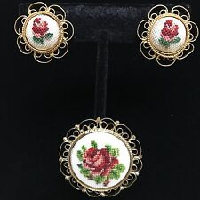 Vintage Petit Point Brooch & Earring Set Needlepoint Red Rose Demi Parure
