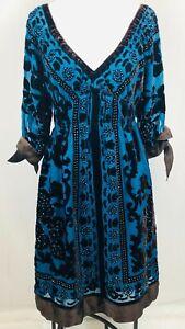 Hale-Bob-Silk-Embellished-Dress-Teal-Velvet-Size-Small-Empire-Waist-Floral