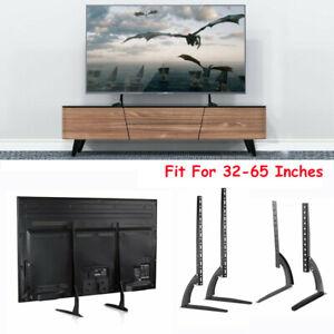 Flat-Screen-TV-Stand-Adjustable-Height-Desktop-Table-Top-Mount-Bracket-22-65inch