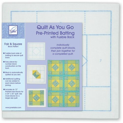 Fair /& Square Quilt As You Go Printed Quilt Blocks On Batting June Tailor