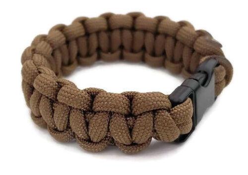 """Coyote Tan Paracord Bracelet 550 Noir Tactique 3//8/"""" boucle fait à la main"""