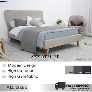 New-SCANDI-Queen-Double-King-Single-Size-Fabric-Bed-Frame-Charcoal-Grey-Beige