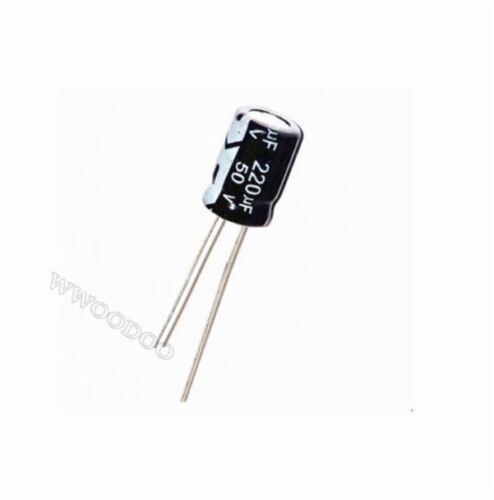 50Pcs 220Uf 50V Electrolytic Capacitor 105°C 8X12MM io