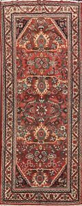 Antique-Geometric-Mahal-Hand-knotted-Runner-Rug-Hallway-Oriental-Carpet-4x10-ft