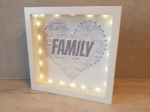 Details About Personalised Light Up Family Names Box Frame Wedding Birthday Christening