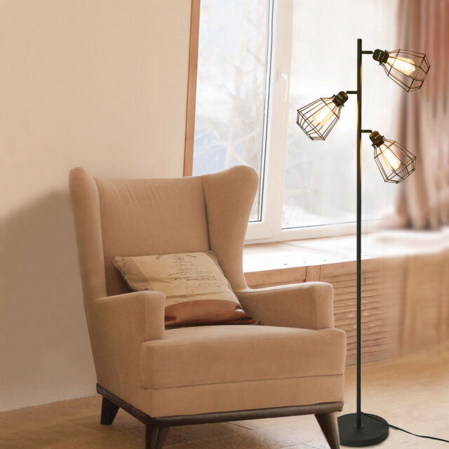 Mid Century Modern Floor Lamp 3 Light Tree Adjustable Aged Brass For Living Room