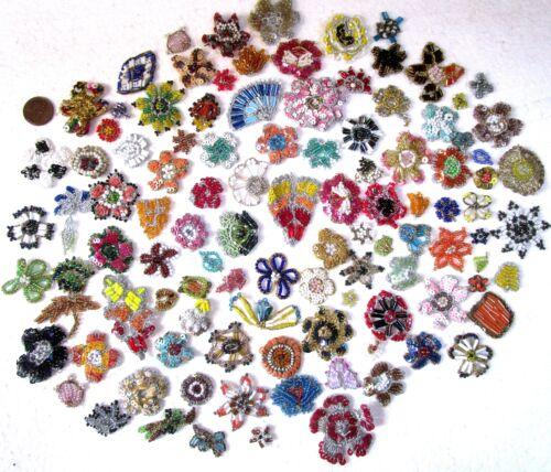 Très rare Lot Antique Vintage Sari Saree Appliques 50 pièces fait main perles de verre M