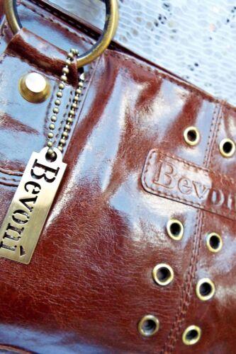 à en et Sac deux à Italian courte bandoulière laiton brun poignées Bevoni détail Desiger axfxUBnq4F