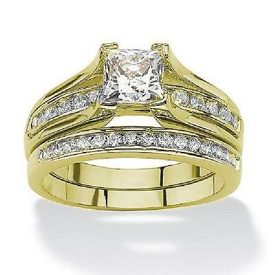 Women's Yellow Gold Plated Cz Wedding Engagement  Ring Set sizes 5-11