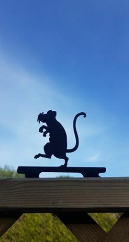 jardin décoration en métal Metal Rat Fence Post Topper art, décoration de jardin