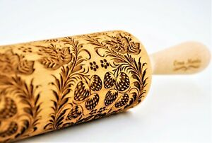 Rolling Pin Engraved Rolling Pin Embossing rolling pin Wooden Rolling pin STRAWBERRY pattern