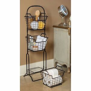 3 tier storage basket floor stand fruit bathroom kitchen vegetables laundry toys ebay. Black Bedroom Furniture Sets. Home Design Ideas