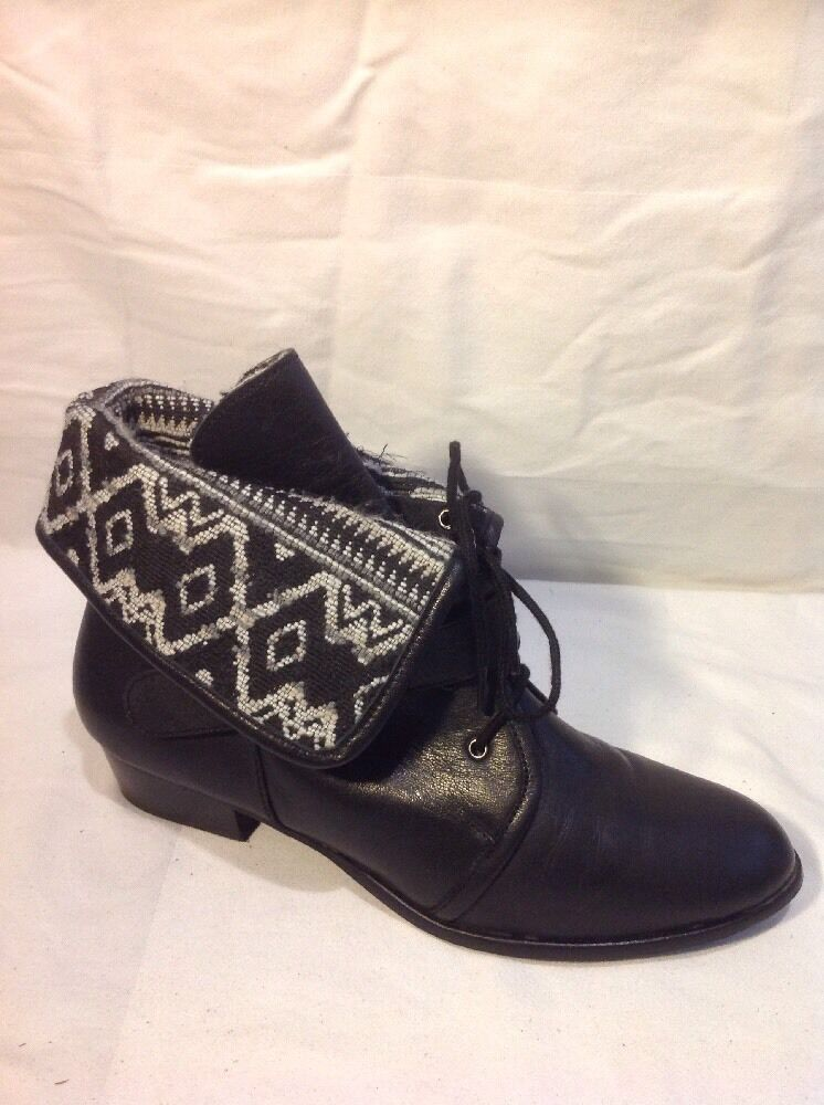 New Look Black Ankle Leather Boots Size 7