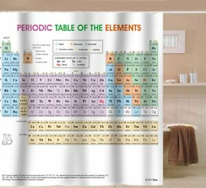 updated periodic table of elements shower curtain pvc free odorless non toxic 600686436058 ebay. Black Bedroom Furniture Sets. Home Design Ideas