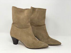 2e5aa6b0776 Zara Women's Ankle Boots Leather Beige Tan Heel EU 36 US 6 Pointed ...