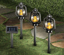 Set of 3 Solar Powered LED Railroad Lantern Outdoor Garden Pathway Lights