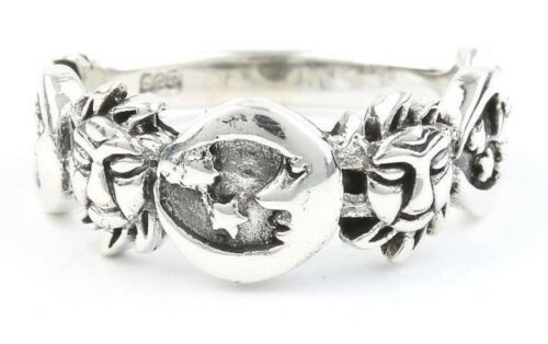 Sun and moon ring Sterling Silver Moon Ring bohème Star Ring COSMIC 925 Gypsy