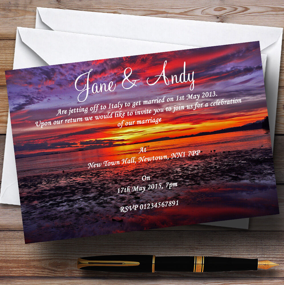 Beautiful lila Sunset Beach Personalised Wedding Invitations