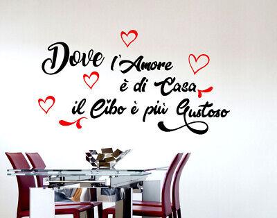 Adesivi murali frasi amore cucina da parete adesivo muro wall stickers cibo  casa | eBay