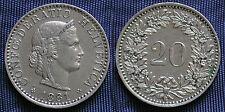 MONETA COIN MONNAIE HELVETIA SUISSE SWITZERLAND SVIZZERA - 20 RAPPEN 1881 -