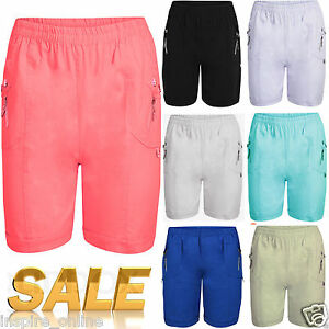 WOMENS LADIES ELASTICATED SHORTS ZIP POCKETS COTTON SUMMER GIRLS ...