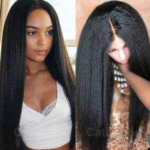 Glueless-100-Brazilian-Remy-Human-Hair-Wig-Lace-Front-Wig-Yaki-Straight-Women-S