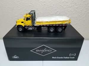 Mack-Granite-Flatbed-Truck-Yellow-Sword-1-50-Scale-Model-SW2102-Y-New