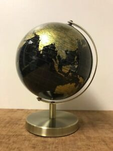 Image Is Loading Gold Black World Globe Vintage Rotating Atlas Home