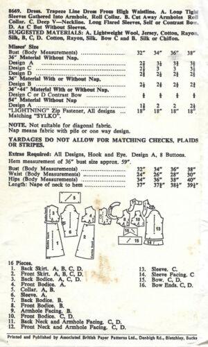 "1960s Vintage Sewing Pattern vestido de B36/"" 1863 Barbara Hulanicki Biba"