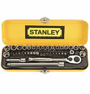 Stanley-40-PIECE-14-034-DRIVE-SOCKET-SET-w-18-Screw-Bits-amp-2-Extensions-USA-Brand