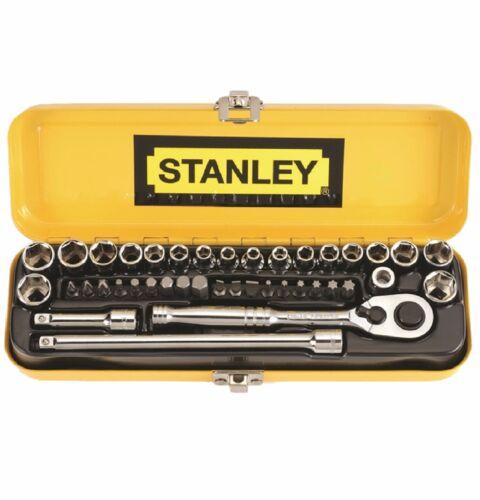 "Stanley 40-PIECE 14/"" DRIVE SOCKET SET w// 18 Screw Bits /& 2 Extensions *USA Brand"