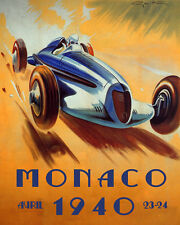 Monaco Monte Carlo April 1934 Car Race Grand Prix 16X20 Vintage Poster FREE S//H