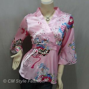 d1d40bc8eaf Japanese Kimono Floral Silky Satin Blouse Top Pink S M L XL 2XL 3XL ...