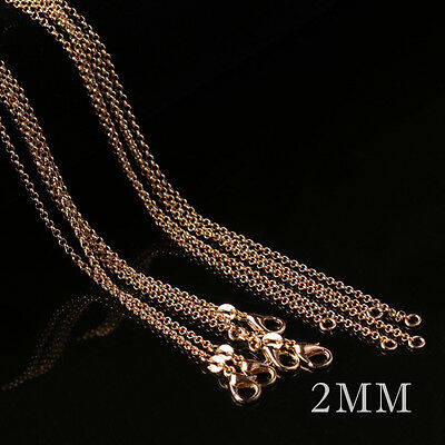 "Luxury Women 1pc Fashion Yellow Gold Chain 2mm ""o"" Chain Link Necklace 16-30inch"