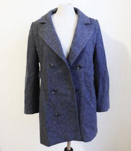 Vintage-1960s-Gray-Herringbone-Wool-Judi-Rich-Double-Breasted-Coat-Size-S