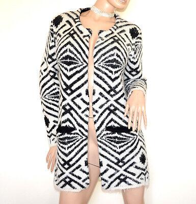 spilla G80 CARDIGAN MAGLIONE donna nero beige aperto maniche lunghe cappotto
